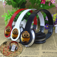 Best gift Cartoon Anime headhand Earphone despicable Me Minions 3.5mm Headphones For iPhone samsung MP3 player Computer kids