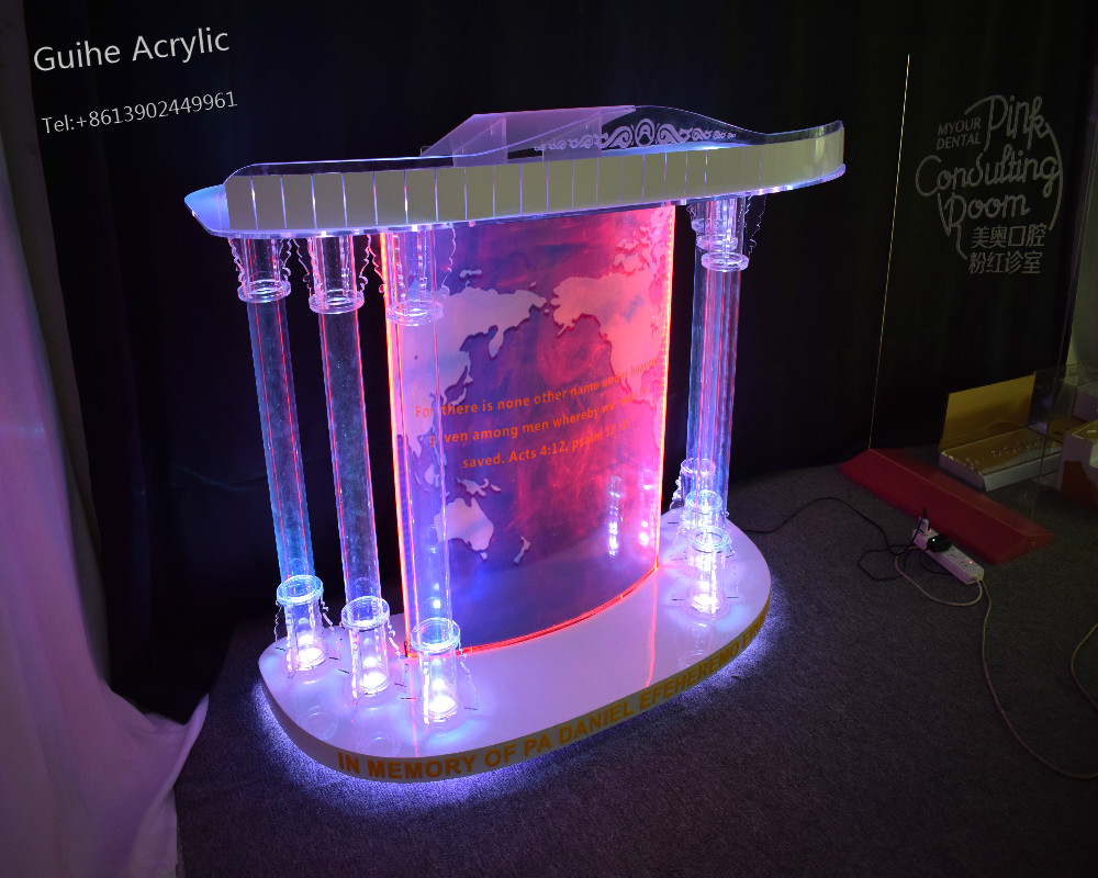 Modern Clear Acrylic Podium Lectern (Traditional) Crystal Pillars Church Pulpit, Bishop Pulpit. Acrylic Speech Lectern acrylic podium pulpit lectern acrylic church pulpit stand pulpit for church podiums for sale