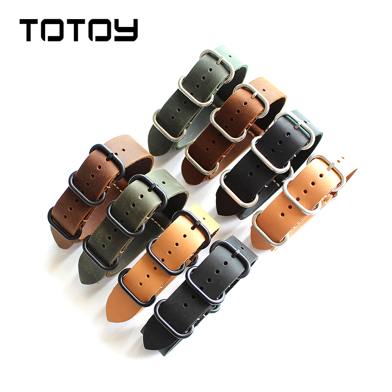 TOTOY Handmade Leather Watchbands 18MM 20MM 22MM 24MM 26MM Soft NATO Crazy Horse Leather Vintage Men's Strap, Fast Delivery tjp 1pcs 18mm 20mm 22mm 24mm 26mm green khaki black brown genuine crazy horse leather bracelet nato watch strap bands