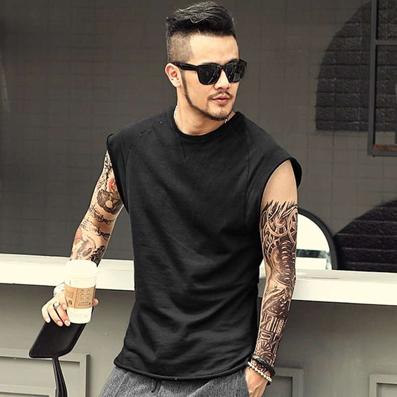 Men's Sleeveless Knitwear Sleeveless Undershirt Wide Shoulder Vest Bodybuilding Tank Top Men Cotton Summer New T4364