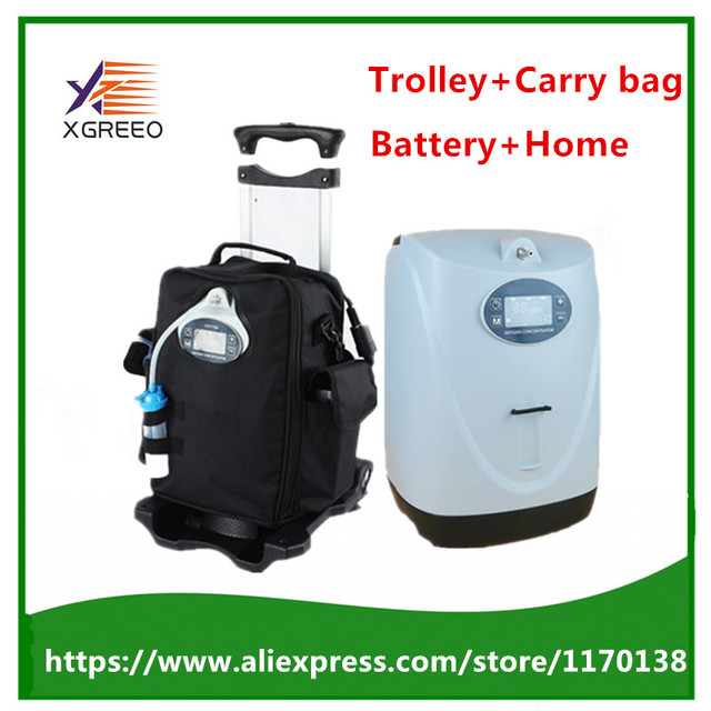 XGREEO POC-06 Battery Operated Portable Oxygen Concentrator Generator Home Car Travel with cart oxygen making machine