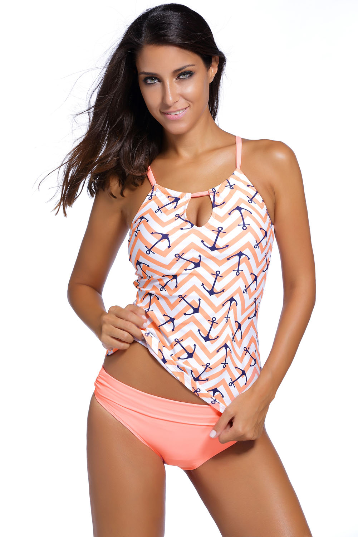 Sexy Women Printed Two Piece Swimsuit Tankini Swimwear With Briefs Bathingsuit Beach Wear Summer