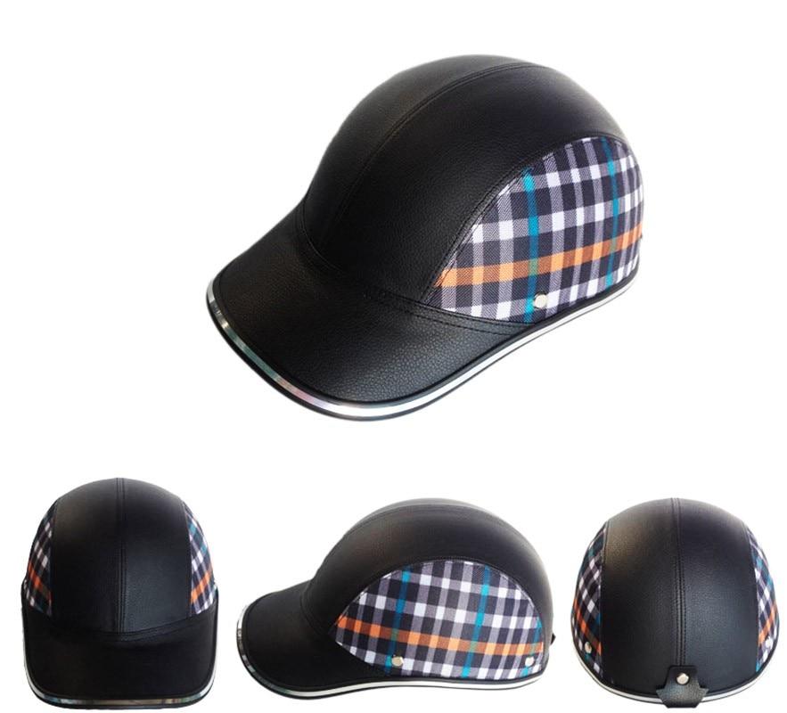 PU Leder Männer Motorrad Open Halbe gesicht Helme Bike Fahrrad Roller Helm Weibliche Moto Casco Baseball Kappe gorras de beisbol