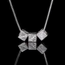 2019 кубическое квадратное ожерелье и кулон серебряного цвета