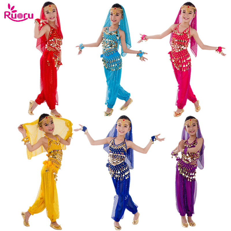 Ruoru Kids Bollywood Belly Dance Costumes Set Oriental Dance Children Dresses India Belly Dance Clothes Bellydance Girls Dancer