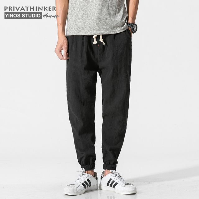 Privathinker Cotton Linen Casual Harem Pants Men Joggers Man Summer Trousers Male Chinese Style Baggy Pants 2020 Harajuku Clothe 2