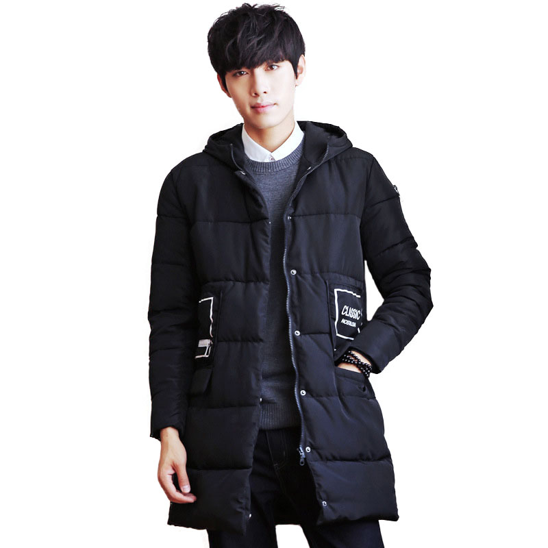 Men Padded Jacket Long Parkas 2017 New Quilted Jackets Male Cotton Wadded Coat Mens Hooded Jackets Winter Thick Warm Outwear
