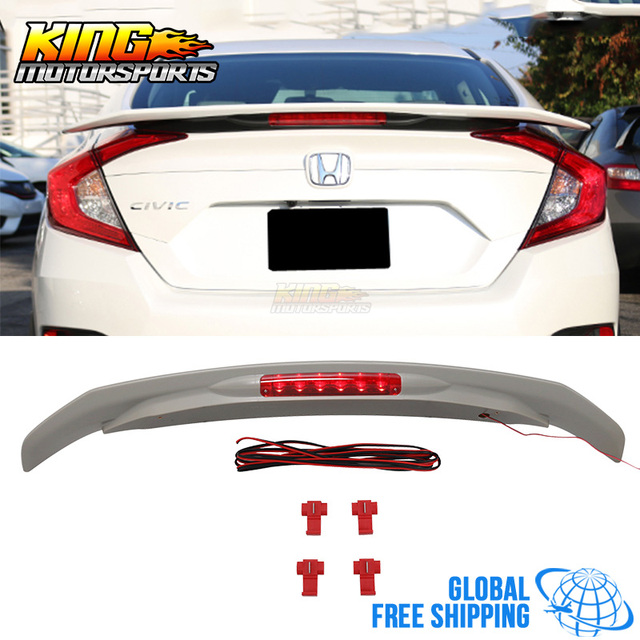 For 16 17 Honda Civic X 10th JDM RS SI Style ABS Trunk Spoiler W