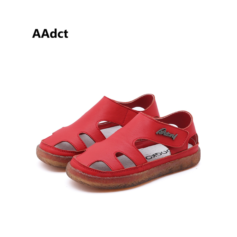 AAdct 2018 Genuine leather Girls sandals summer new Hollow Boys sandals fashion beach closed-toe children shoes