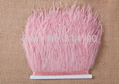 2Yard/lots Long Ostrich Light Pink Feather Plumes Fringe trim 10-15cm Feather Boa Stripe for Party Clothing Accessories Craft