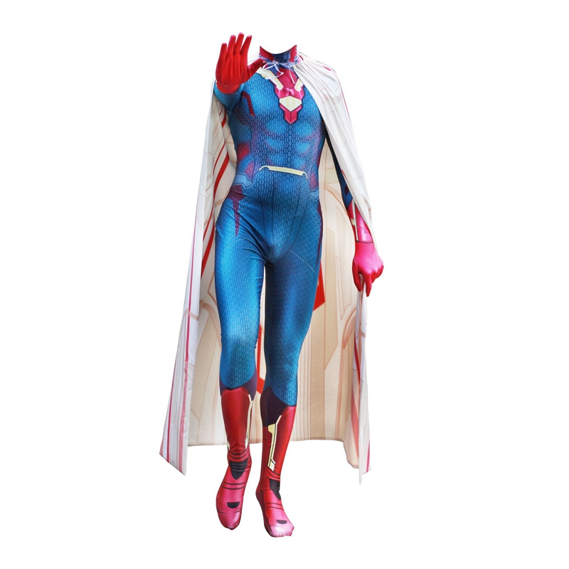 FOGIMOYA Adult Men Kids Avengers Infinity War Vision Cosplay Costume Zentai Superhero Bodysuit Suit Jumpsuits Cloak