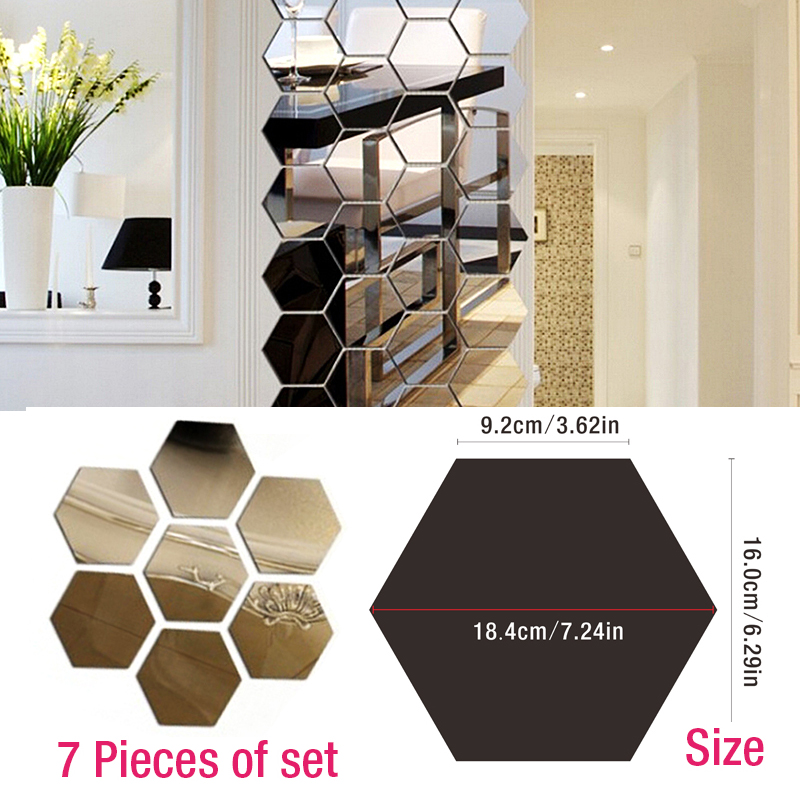 7 Pce Hexagon Acrylic Mirror Wall Sticker DIY Art Wall ...