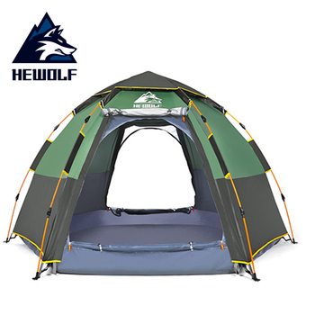 Hewolf Pop Up Tent Quick Automatic Opening Waterproof Tourism Travel Outdoor Tent 5 Person Double Layers Family Camping Tents quick opening dressing shower fishing tent one touch waterproof camping toilet changing room with carrying bag