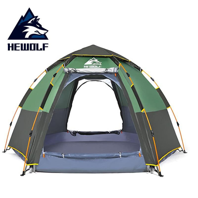 Hewolf Pop Up tente rapide automatique ouverture étanche tourisme voyage extérieur tente 5 personnes Double couches famille Camping tentes