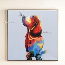 Лучший!  Акриловая картина маслом ручной работы холст прекрасная собака с изображением бабочки Современная
