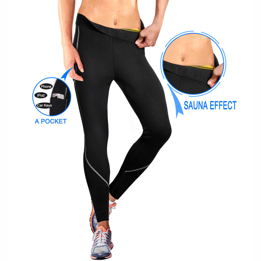 158ec0bad4 Sports & Outdoors Gotoly Women Sauna Weight Loss Slimming Neoprene Pants  Side Pocket Hot Thermo Sweat Leggings