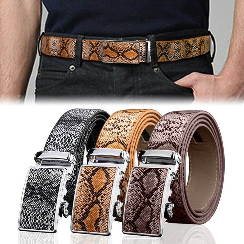 Men Automatic Buckle Ratchet Belt Leather Snake Skin Embossed Exact Fit Gift TT@88