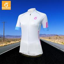 70bb31420 EMONDER White Short Sleeve Summer Women MTB Bike Clothing Tight Breathable  Bicycle Clothes Ropa Ciclismo Girls UV Cycling Jersey