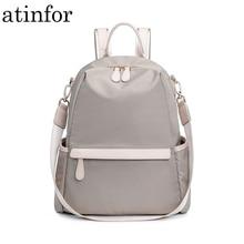 Atinfor مقاوم للماء مكافحة سرقة النايلون حقيبة صغيرة على ظهره المرأة السفر حقيبة الكتف المحفظة على الظهر