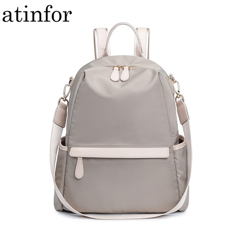 Atinfor Waterproof Anti Theft Nylon Small Backpack Women Travel Shoulder Purse Bag Backpacks