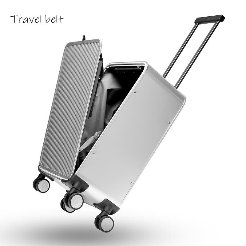 Marca de luxo 100% de Alumínio-magnésio liga de alumínio de Rolamento Bagagem 16/20/24 polegada tamanho de alta qualidade trolley caso rodas Mala de negócios