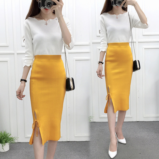 2018 New Fashion Ol Straight Sweater Skirt Women Knee Length Lace Up Skirts Office