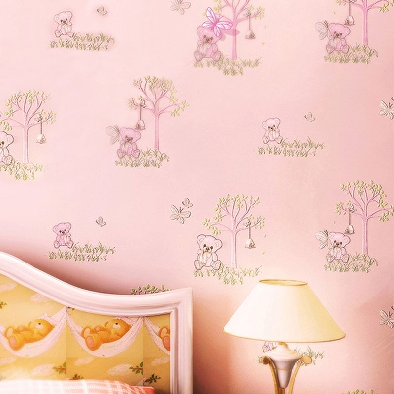 Environmental Protection Non-woven Wallpaper 3D Cartoon Bear Children Room Bedroom Wall Decoration Kids Room Wallpapers For Wall mediterranean style wallpaper environmental health non woven cartoon sailing children room boy girl bedroom wall paper