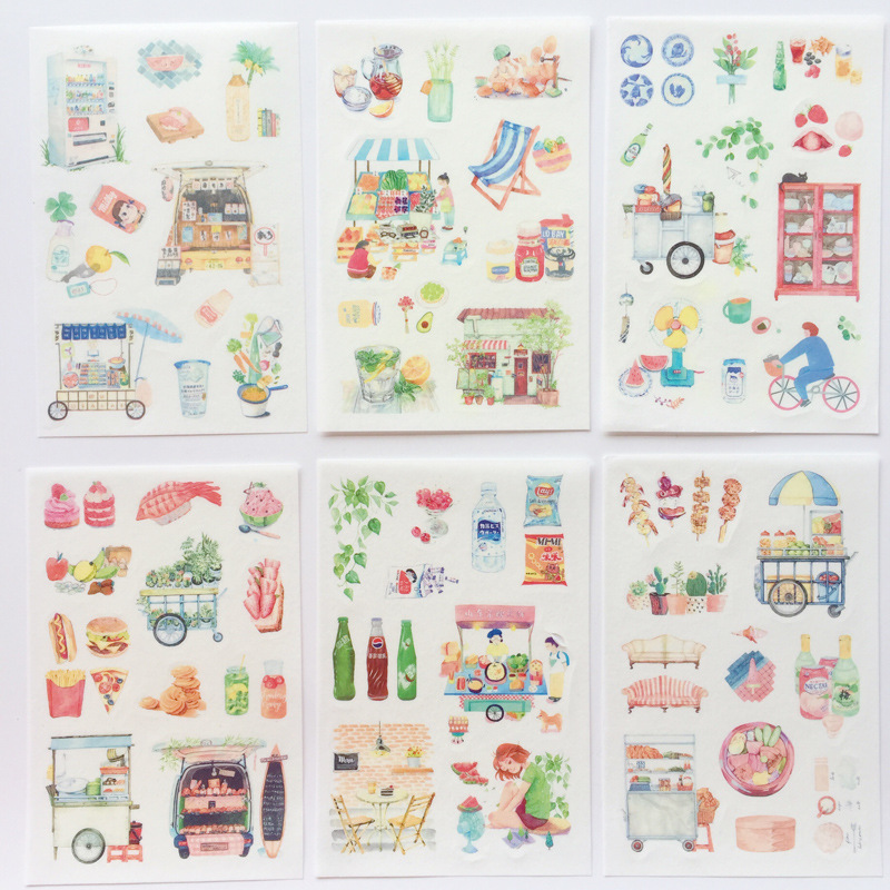 6 Pcs/pack Enjoy Slow Life Decorative Stationery Stickers Scrapbooking DIY Diary Album Stick Label