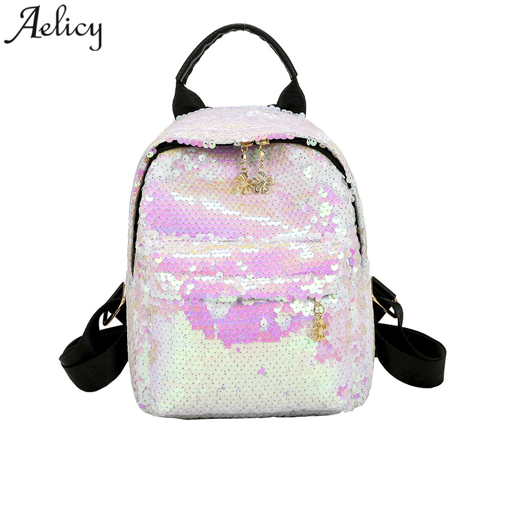 Aelicy 2018 Hot New Fashion Light High Quality Women Girls Shinning Glitter Bling Backpack Preppy Style Sequins Travel Satchel