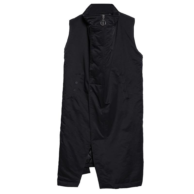 Automne Gilet D'hiver Manches Sans Pour Longue Veste Femmes Mode Nouveau Oversize Lâche Noir Revers Zipper Femme De rxnr7qp