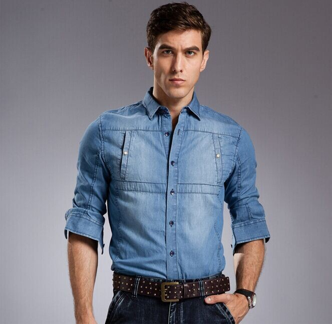 Aliexpress.com  Buy 2014 autumn Wear Men Jeans Shirt Denim Jeans Long Sleeve Shirt High Quality ...