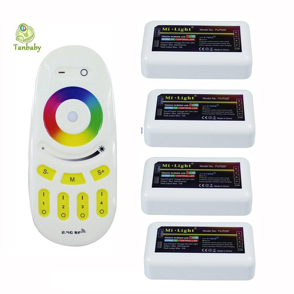 2.4G 4 zones Mi. télécommande RF sans fil légère pour ampoule et bande led 1X télécommande RGB + 4X contrôleur rvb