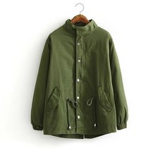 S M L Women spring autumn thin long army green cotton BF loose tie waist female buttons jacket trench