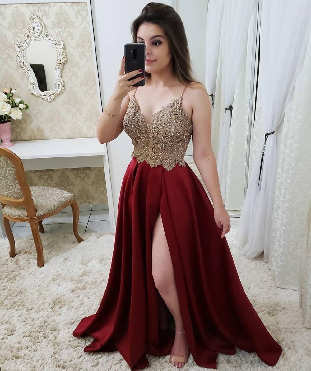 Sexy col en V rose bordeaux rouge bleu marine robes de bal longue 2019 perlée Appliques réfléchissantes robe côté fente robes de soirée - 3