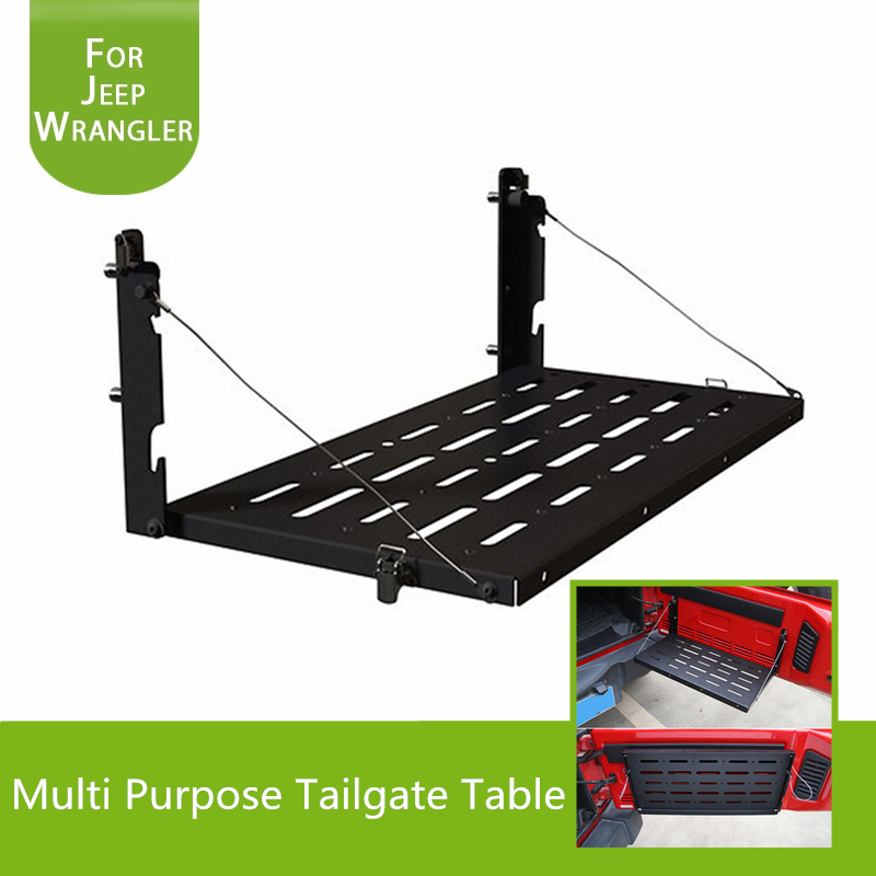 Metal Multi-Purpose Flexible Tailgate Table / Cargo Carrier Support up to 75lb Fit for Jeep Wrangler JK 2007-2017 ...