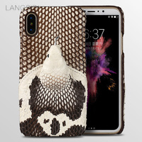 LANGSIDI brand phone case real snake head back cover phone shell For iPhone 8 full manual custom processing
