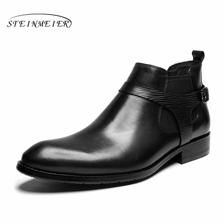 Men winter Boots Genuine cow leather chelsea boots brogue shoes casual ankle shoes Comfortable quality soft handmade black red
