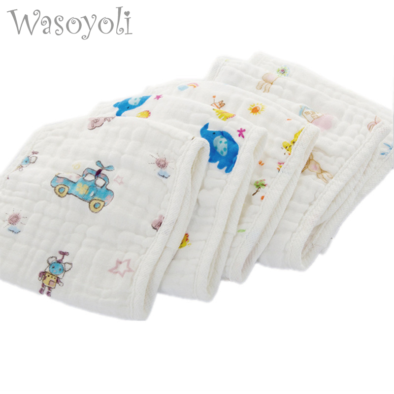1 pc Wasoyoli 100% Muslin Bomull Seersckuer 6 Lager Burp Cloths 25x25cm Mjuk Näsduk Spädbarn Feeding Bathing Face Washing