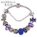 MANBALA Plata Plateó Los Encantos de la Pulsera para Las Mujeres Azul Flor de Cristal Moldeado Colorido con Rhinestone Bangle Joyería Turca T01AA