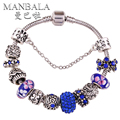 MANBALA Silver Plated Charms Bracelet for Women Blue Flower Crystal Colorful Beaded with Rhinestone Bangle Turkish Jewelry T01AA