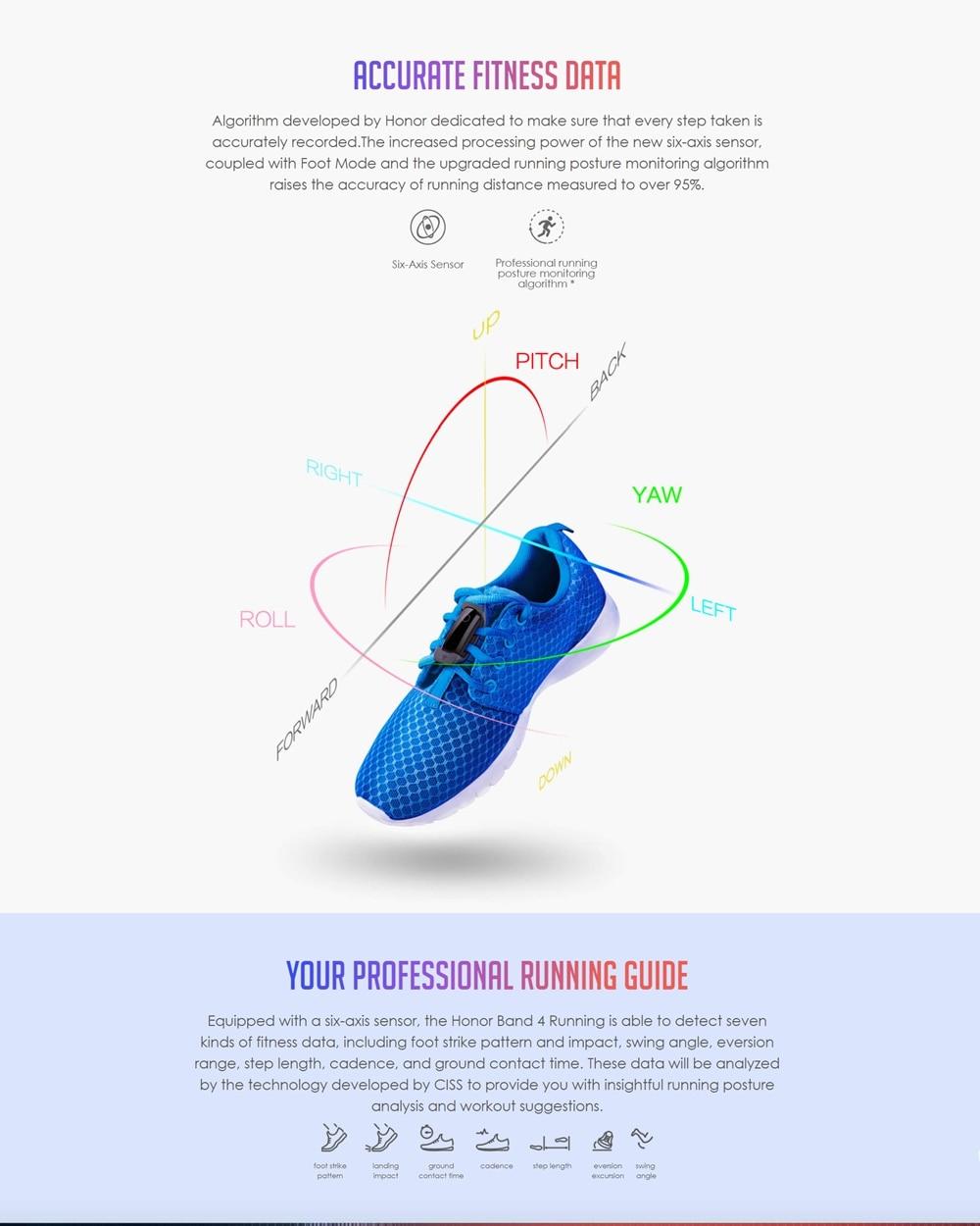 Original Huawei Honor Band 4 Running Version Smart Wristband Shoe-Buckle  Land Impact Sleep Snap Monitor