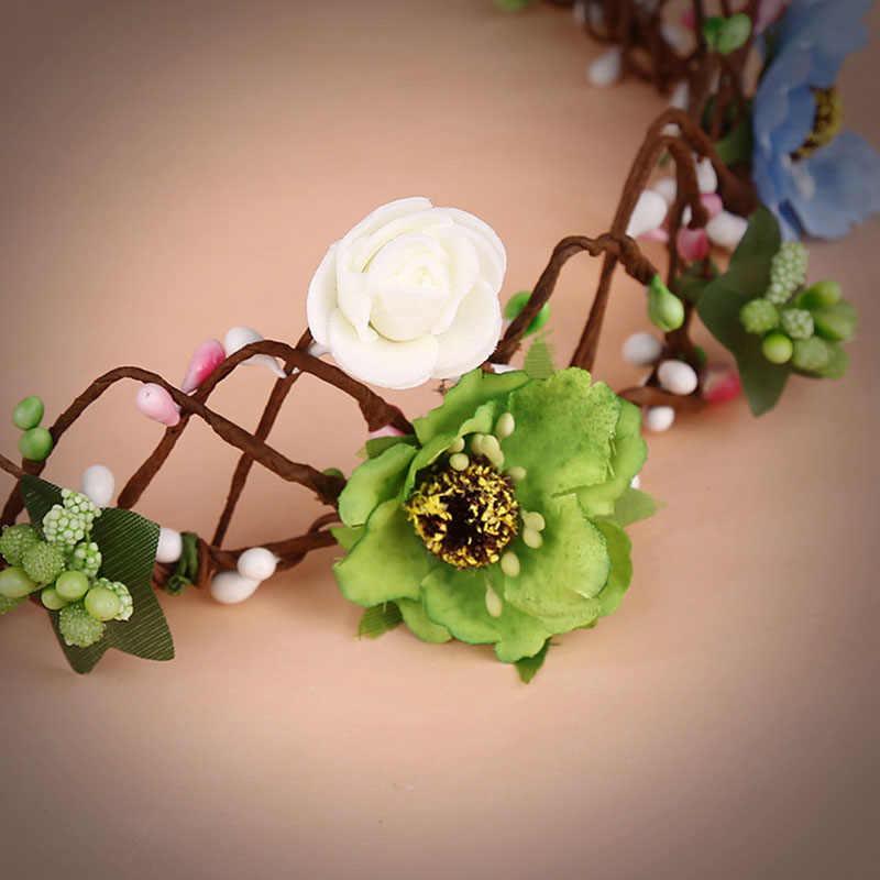 للنساء موضة ملون زهرة إكليل العروس هيرباند التيجان و التيجان الأزهار عقال غطاء الرأس زفاف إكسسوارات الشعر BH