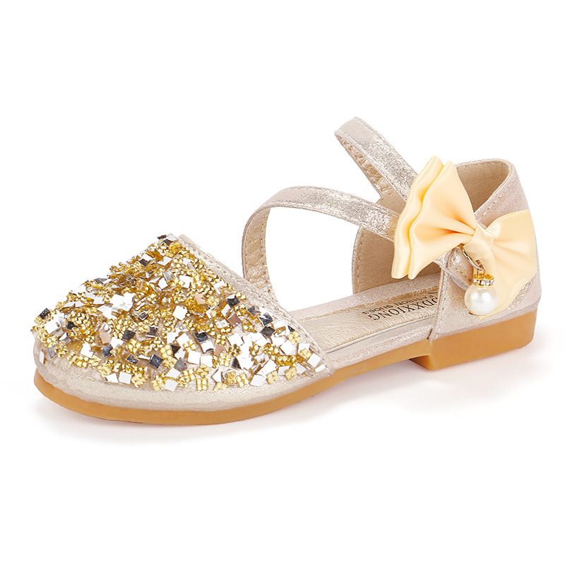 JGVIKOTO Cute Girls Shoes With Rhinestone Bow-knot Buckle Pearl Pendant Princess Sweet Kids Flats Bling Children Shoes Wedding