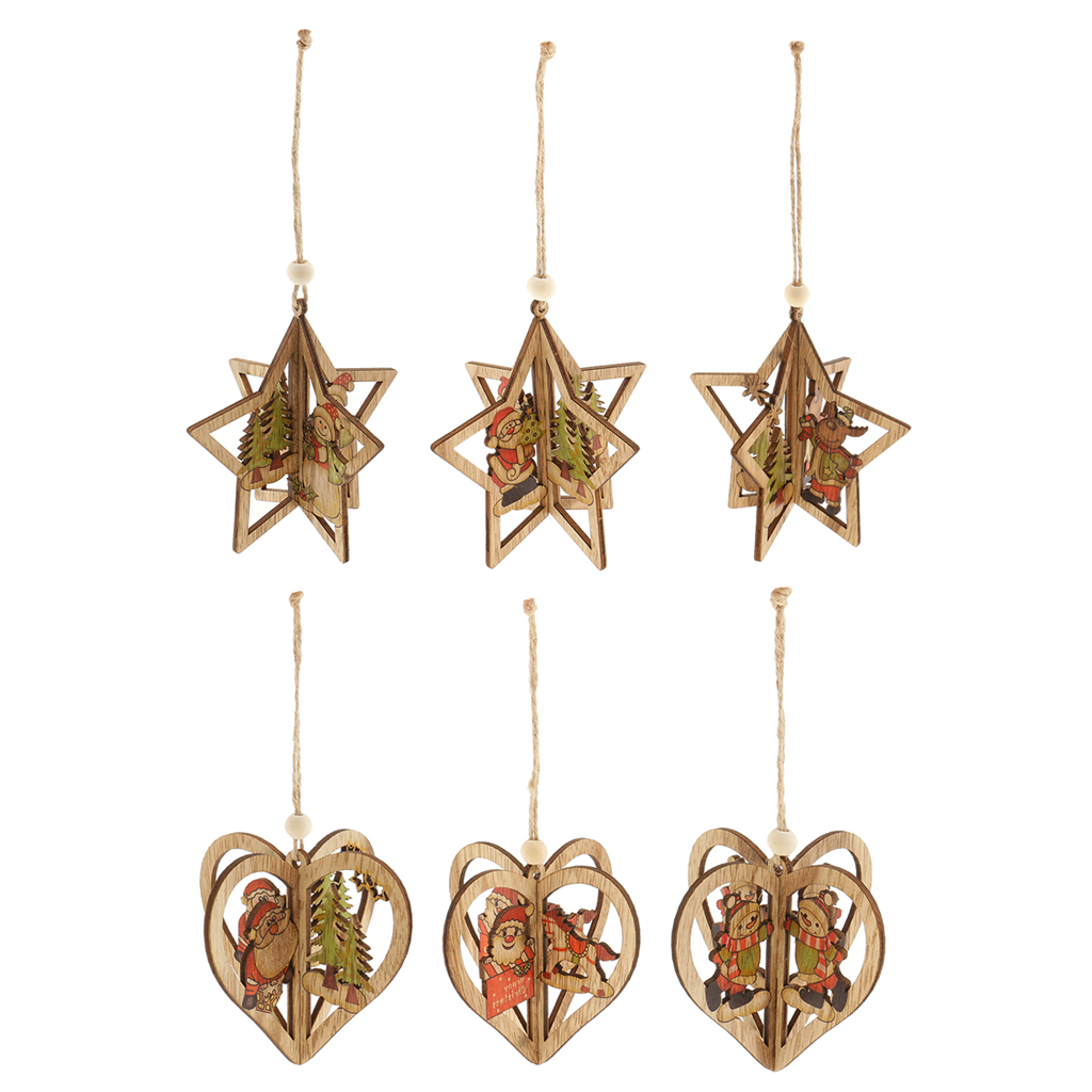 Hot Sale 6 Pieces Assorted Stereo Wooden Christmas Tree Hanging ...