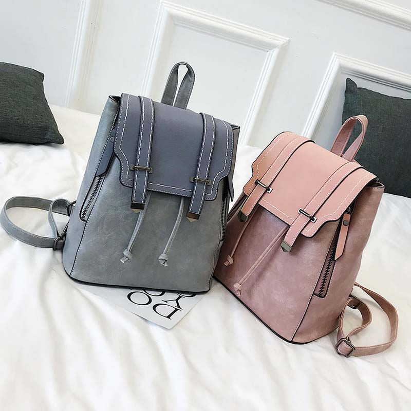 Image 3 - Women Leather Backpacks For Teenage Girls School Bags Sac a Dos Preppy Style Female Backpack Mochilas Retro Rucksack 2020 XA104HBackpacks   -