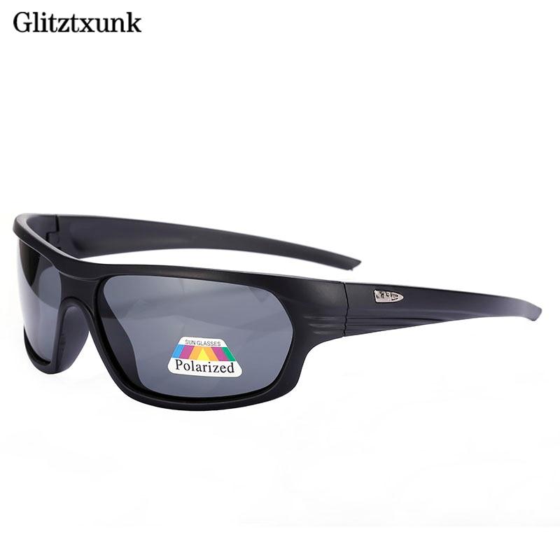 Glitztxunk   Black Polarized SunGlasses Men Sport Sunglasses UV400 Outdoor Dr...