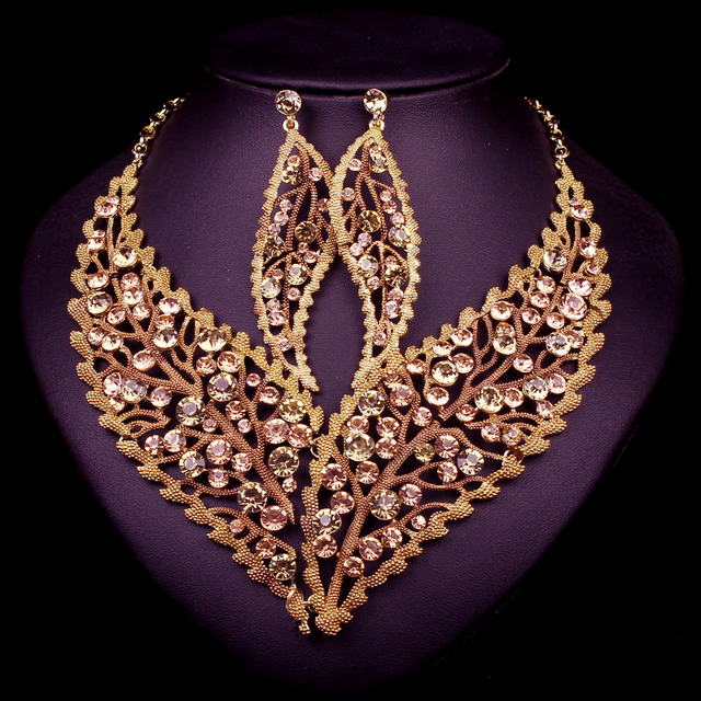 New Fashion Wedding Jewelry Sets Leaf Necklace Earrings Set Party Prom Wedding Accessories Decoration Christmas Gift For Women