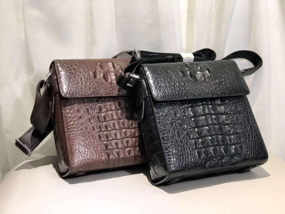 Новое производство 100% натуральная крокодиловая кожа мужская сумка через плечо маленькая сумка с подкладкой из коровьей кожи черного и кори...