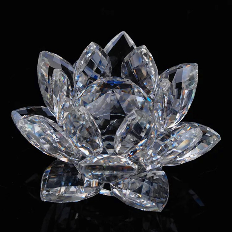 120mm Colorful Quartz Crystal Glass Lotus Feng shui Crystals Stone Home Wedding Decoration Souvenirs Figurines & Miniatures120mm Colorful Quartz Crystal Glass Lotus Feng shui Crystals Stone Home Wedding Decoration Souvenirs Figurines & Miniatures