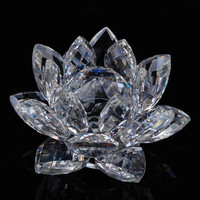 120mm Colorful Quartz Crystal Glass Lotus Feng shui Crystals Stone Home Wedding Decoration Souvenirs Figurines & Miniatures